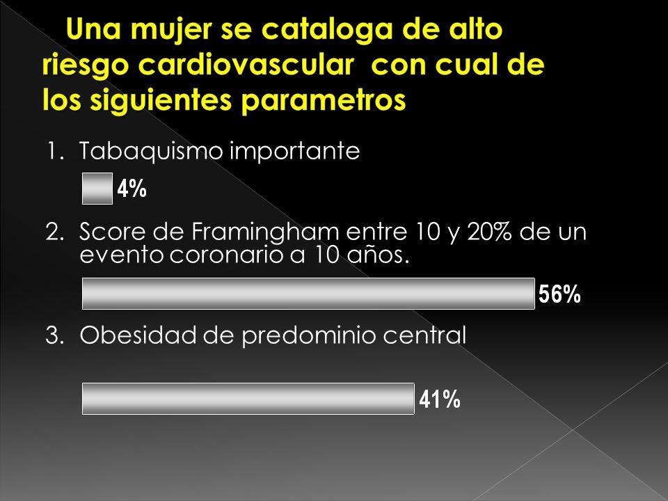 a) Tabaquismo importante b) Score de Framingham entre 10 y 20% de un evento coronario a 10 años. c) Obesidad de predominio central