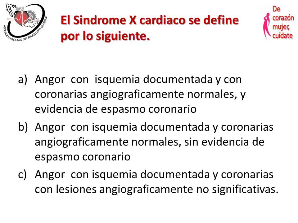 Síndrome X Cardiaco Dra. Edith Ruiz Gastélum II Encuentro Regional de ANCAM Zacatecas, Zac. 18 Junio 2011