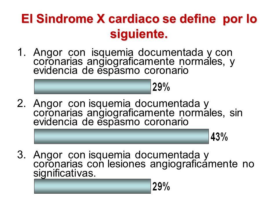 El Sindrome X cardiaco se define por lo siguiente. a)Angor con isquemia documentada y con coronarias angiograficamente normales, y evidencia de espasm
