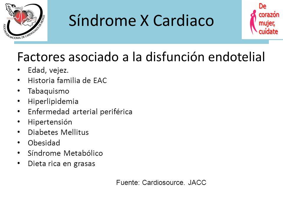 Síndrome X Cardiaco Definición Dolor precordial típico de angina en reposo o con el esfuerzo. Cambios de isquemia documentado en ECG o con estudio de