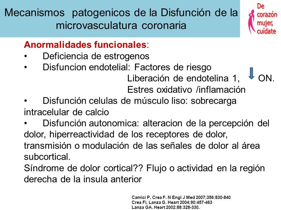 Crea Fi, Lanza G. Heart 2004;90:457-463 Lanza GA. Heart 2002;88:328-330. Anormalidades estructurales Inflamación microvascular Obstrucción o disminuci