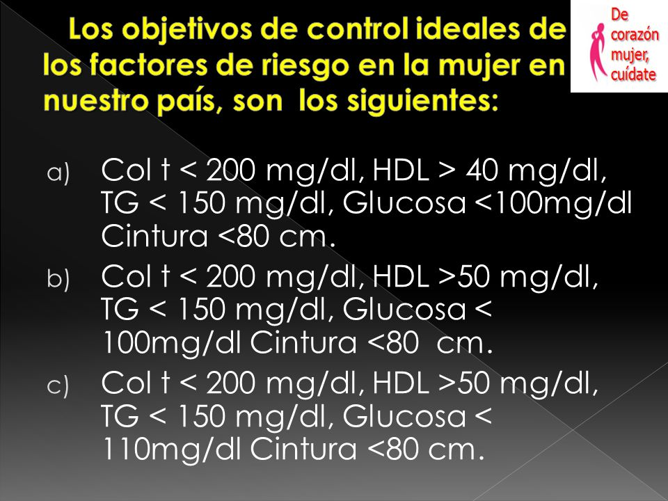 a) Col t 40 mg/dl, TG < 150 mg/dl, Glucosa <100mg/dl Cintura <80 cm.