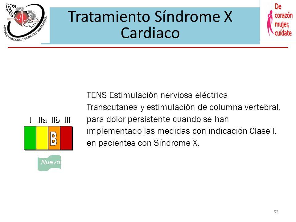 61 Sindrome XCardiovascular Syndrome X Se recomienda tratamiento médico con nitratos, beta bloqueadores, y calcioantagonistas solo o en combinación. R