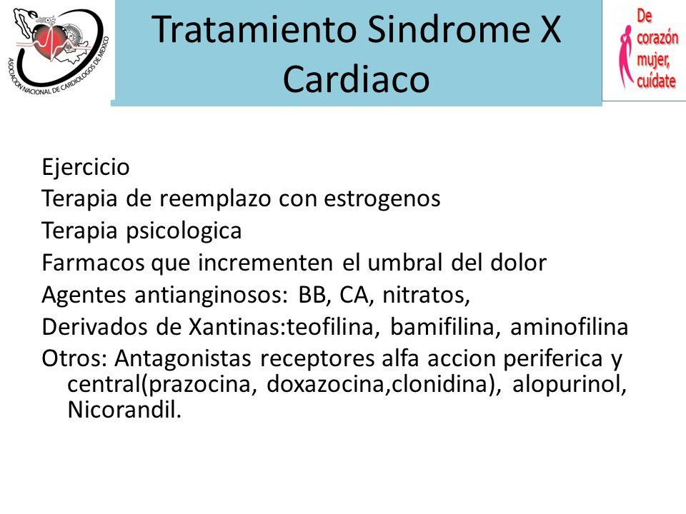 Estudios Clinicos en pacientes con Angina y Coronarias normales. Eur H Journal 2001;22(4):283-293. Tratamiento Síndrome X Cardiaco