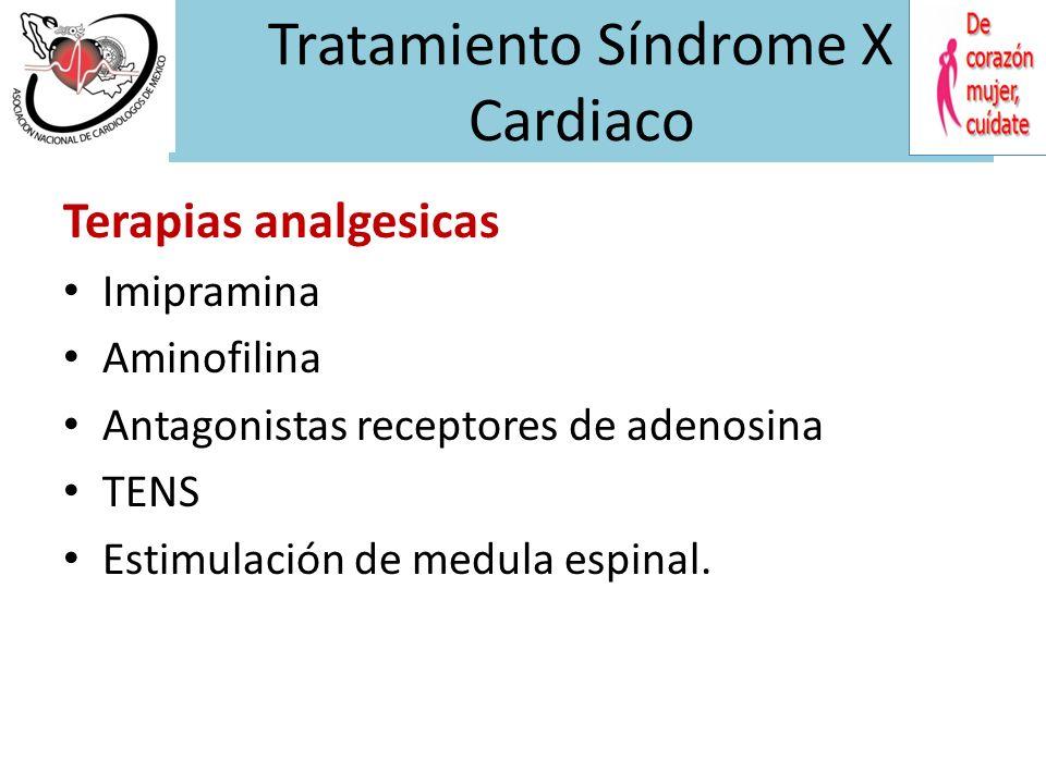 TRH con estrogenos en Síndrome X Se ha observado una disminución de 50% de los episodios de angina en mujeres postmenopausicas con angina y coronarias