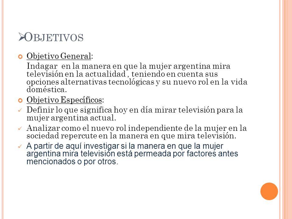 O BJETIVOS Objetivo General Objetivo General: Indagar en la manera en que la mujer argentina mira televisión en la actualidad, teniendo en cuenta sus