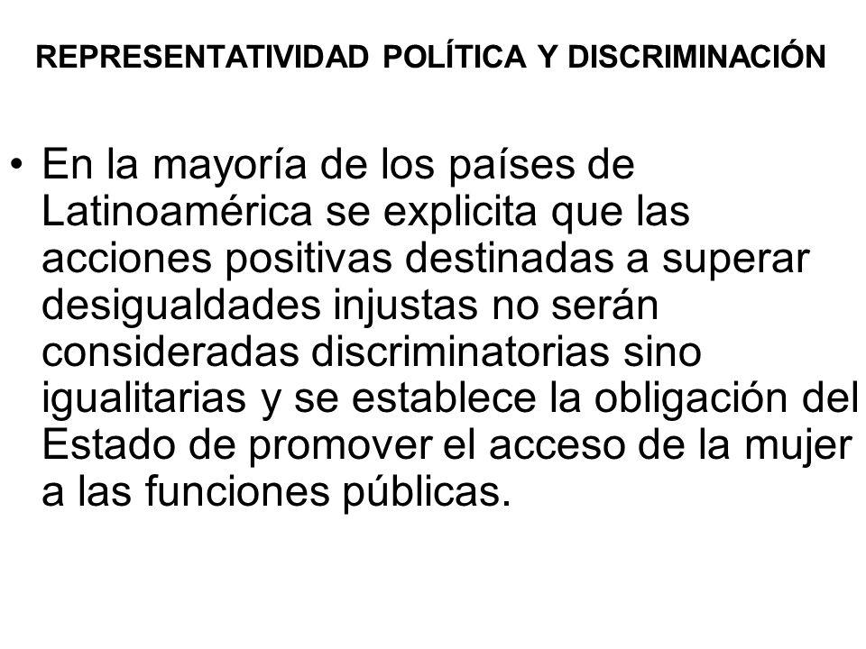 REPRESENTATIVIDAD POLÍTICA Y DISCRIMINACIÓN En la mayoría de los países de Latinoamérica se explicita que las acciones positivas destinadas a superar