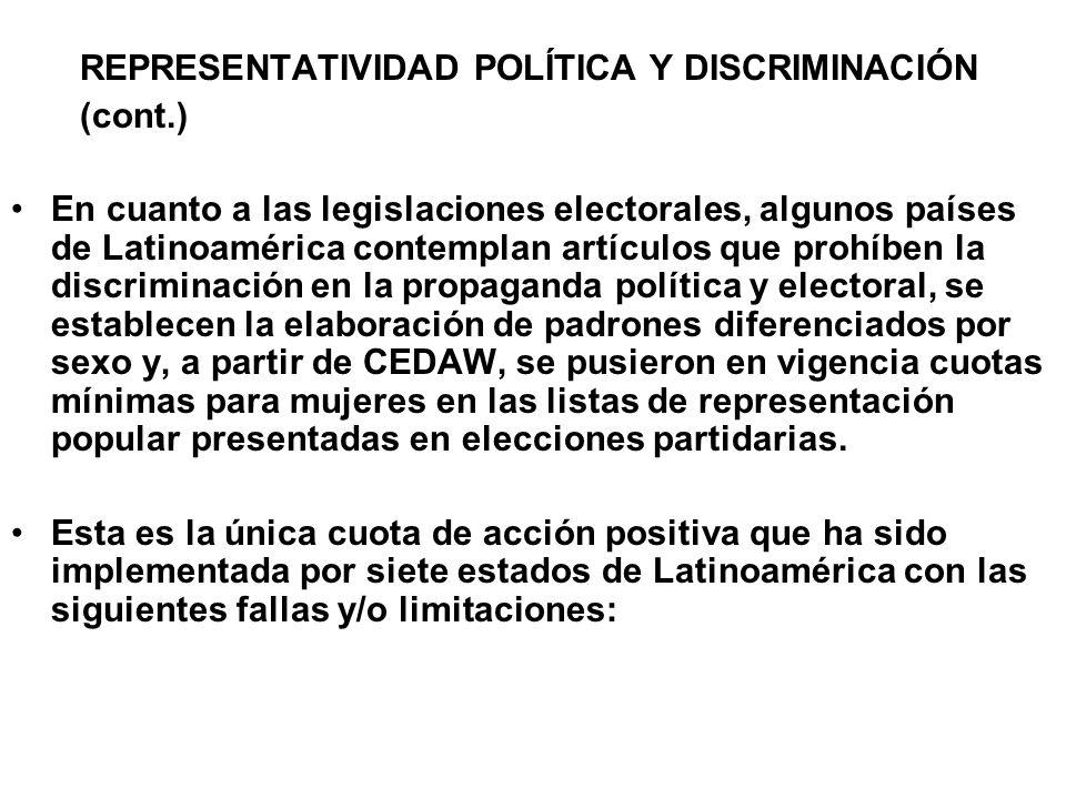 REPRESENTATIVIDAD POLÍTICA Y DISCRIMINACIÓN (cont.) En cuanto a las legislaciones electorales, algunos países de Latinoamérica contemplan artículos qu