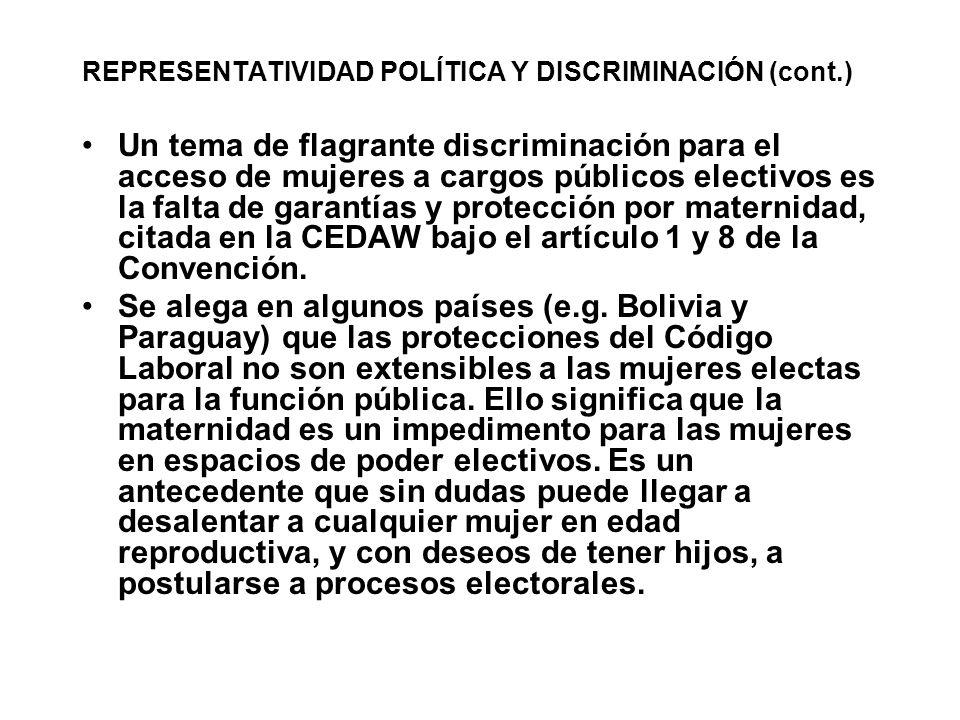 REPRESENTATIVIDAD POLÍTICA Y DISCRIMINACIÓN (cont.) Un tema de flagrante discriminación para el acceso de mujeres a cargos públicos electivos es la fa