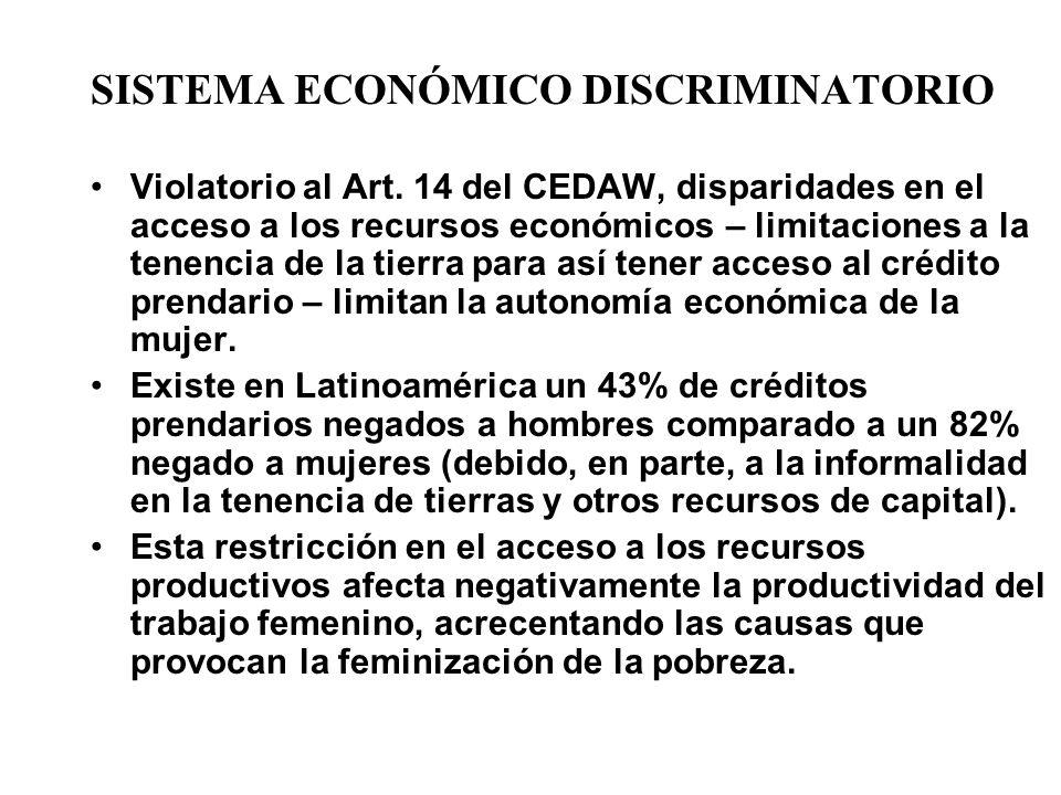 SISTEMA ECONÓMICO DISCRIMINATORIO Violatorio al Art. 14 del CEDAW, disparidades en el acceso a los recursos económicos – limitaciones a la tenencia de