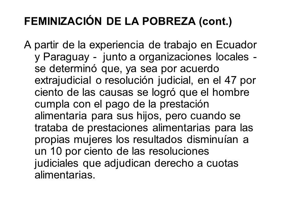 FEMINIZACIÓN DE LA POBREZA (cont.) A partir de la experiencia de trabajo en Ecuador y Paraguay - junto a organizaciones locales - se determinó que, ya