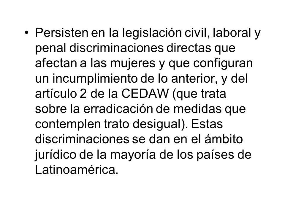 Persisten en la legislación civil, laboral y penal discriminaciones directas que afectan a las mujeres y que configuran un incumplimiento de lo anteri