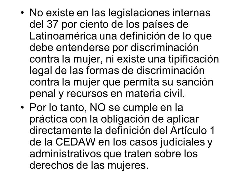 No existe en las legislaciones internas del 37 por ciento de los países de Latinoamérica una definición de lo que debe entenderse por discriminación c