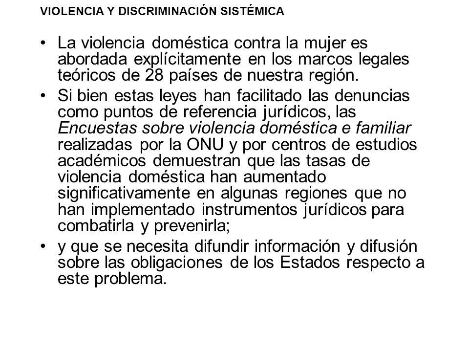 VIOLENCIA Y DISCRIMINACIÓN SISTÉMICA La violencia doméstica contra la mujer es abordada explícitamente en los marcos legales teóricos de 28 países de