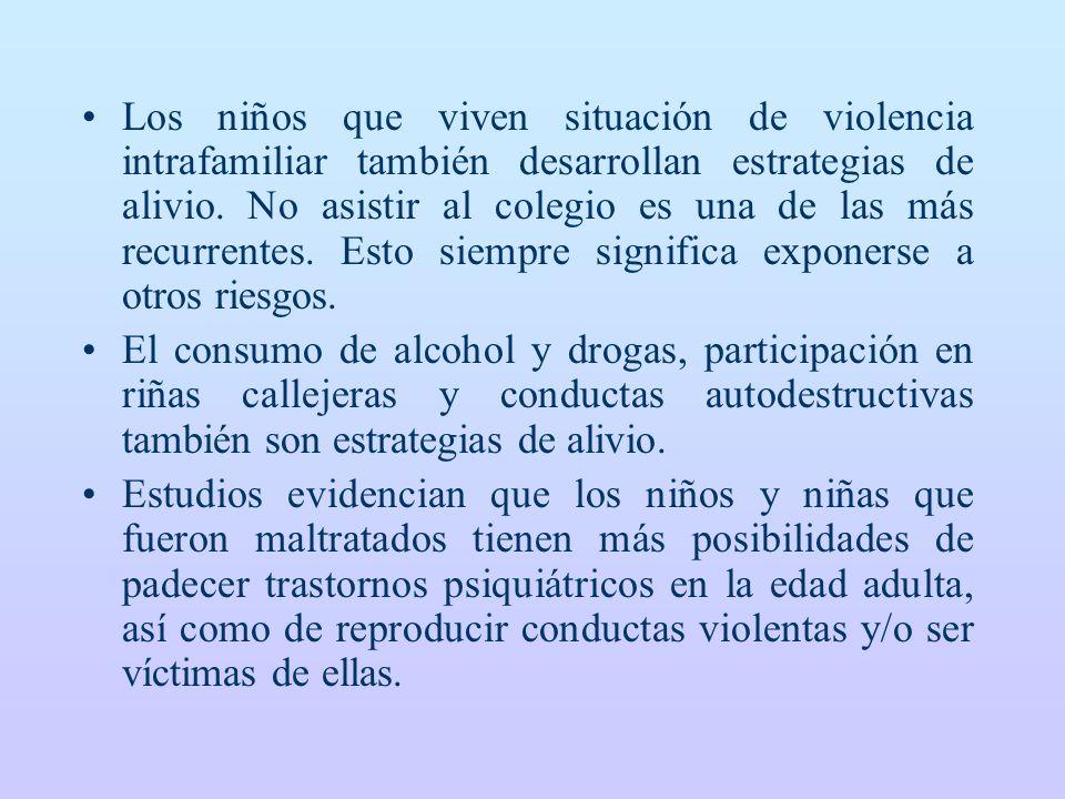 Los niños que viven situación de violencia intrafamiliar también desarrollan estrategias de alivio.