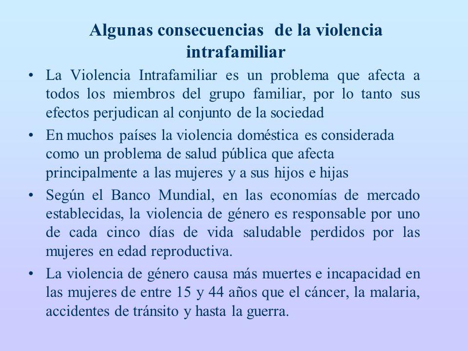 Algunas consecuencias de la violencia intrafamiliar La Violencia Intrafamiliar es un problema que afecta a todos los miembros del grupo familiar, por