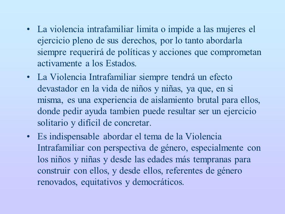 La violencia intrafamiliar limita o impide a las mujeres el ejercicio pleno de sus derechos, por lo tanto abordarla siempre requerirá de políticas y a