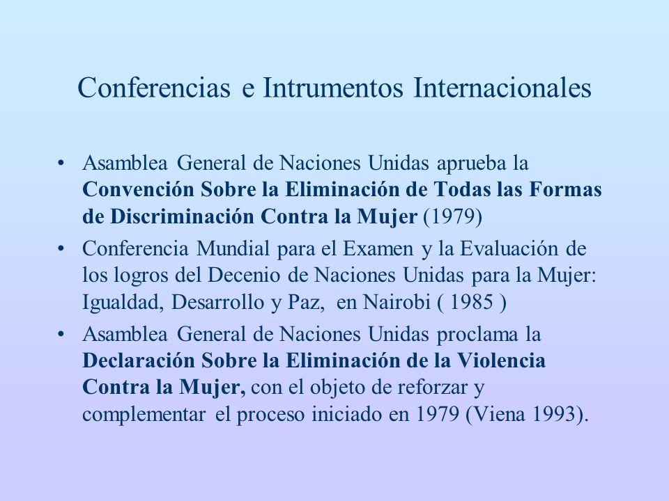 Conferencias e Intrumentos Internacionales Asamblea General de Naciones Unidas aprueba la Convención Sobre la Eliminación de Todas las Formas de Discriminación Contra la Mujer (1979) Conferencia Mundial para el Examen y la Evaluación de los logros del Decenio de Naciones Unidas para la Mujer: Igualdad, Desarrollo y Paz, en Nairobi ( 1985 ) Asamblea General de Naciones Unidas proclama la Declaración Sobre la Eliminación de la Violencia Contra la Mujer, con el objeto de reforzar y complementar el proceso iniciado en 1979 (Viena 1993).