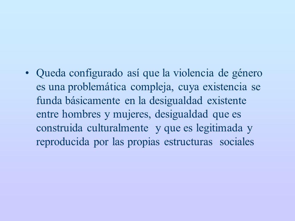 Queda configurado así que la violencia de género es una problemática compleja, cuya existencia se funda básicamente en la desigualdad existente entre