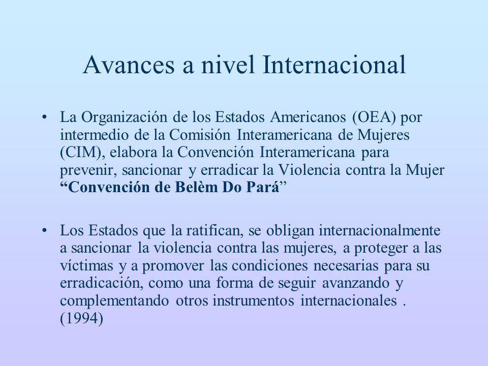 Avances a nivel Internacional La Organización de los Estados Americanos (OEA) por intermedio de la Comisión Interamericana de Mujeres (CIM), elabora l