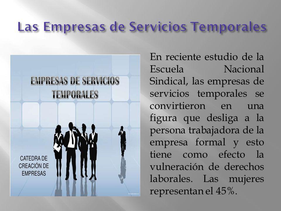 En reciente estudio de la Escuela Nacional Sindical, las empresas de servicios temporales se convirtieron en una figura que desliga a la persona trabajadora de la empresa formal y esto tiene como efecto la vulneración de derechos laborales.