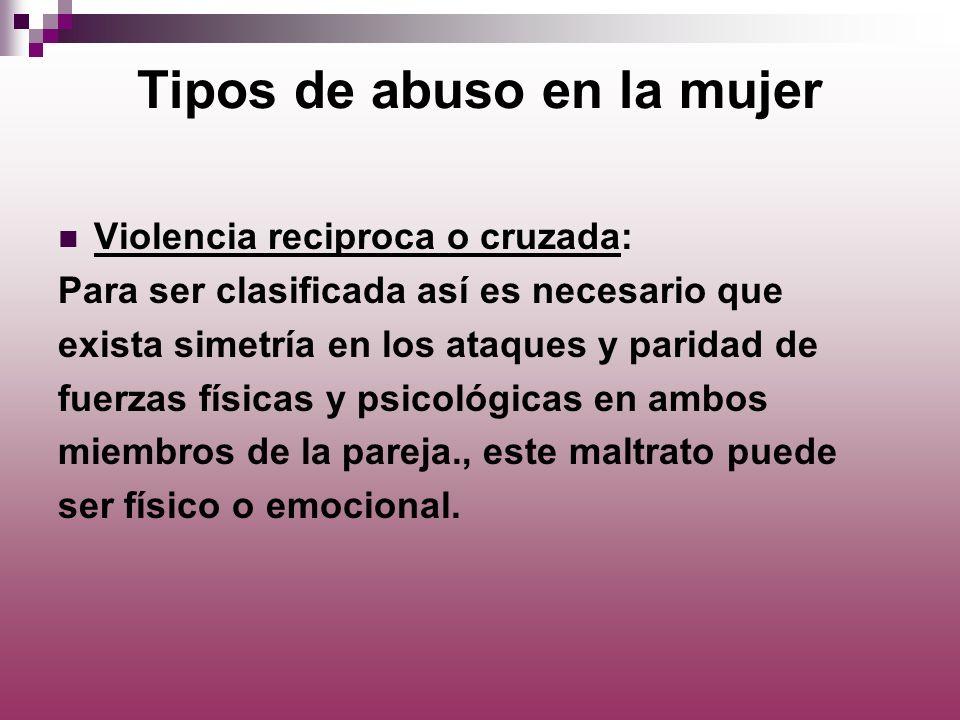 Tipos de abuso en la mujer Violencia reciproca o cruzada: Para ser clasificada así es necesario que exista simetría en los ataques y paridad de fuerza