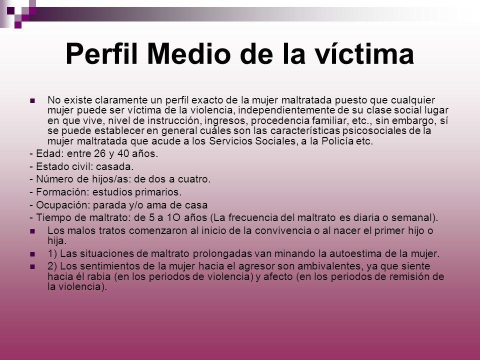Perfil Medio de la víctima No existe claramente un perfil exacto de la mujer maltratada puesto que cualquier mujer puede ser víctima de la violencia,