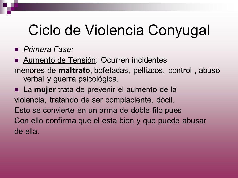 Ciclo de Violencia Conyugal Primera Fase: Aumento de Tensión: Ocurren incidentes menores de maltrato, bofetadas, pellizcos, control, abuso verbal y gu