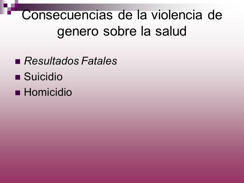 Consecuencias de la violencia de genero sobre la salud Resultados Fatales Suicidio Homicidio