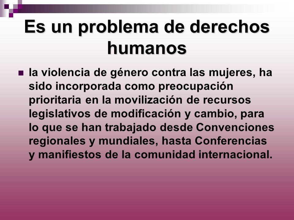 Es un problema de derechos humanos la violencia de género contra las mujeres, ha sido incorporada como preocupación prioritaria en la movilización de