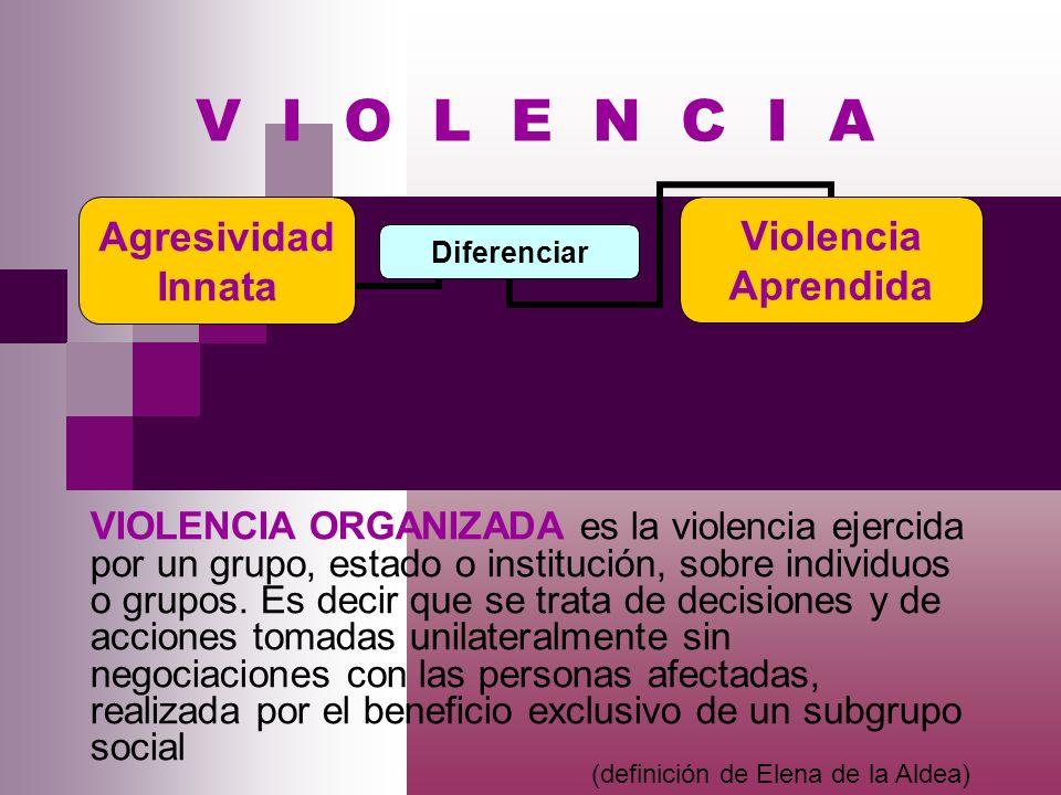VIOLENCIA ORGANIZADA es la violencia ejercida por un grupo, estado o institución, sobre individuos o grupos. Es decir que se trata de decisiones y de