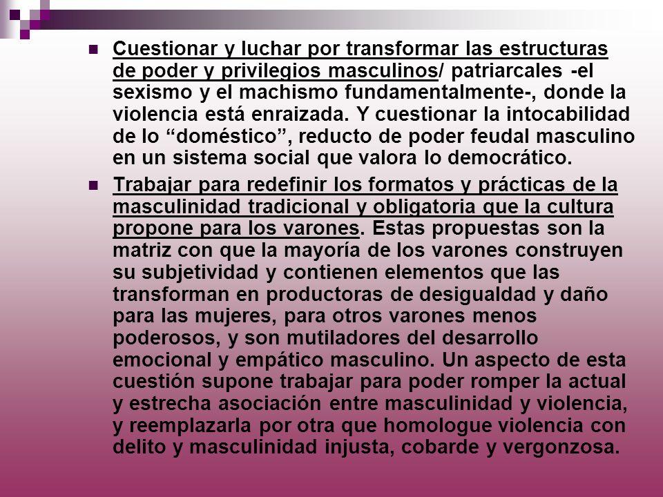 Cuestionar y luchar por transformar las estructuras de poder y privilegios masculinos/ patriarcales -el sexismo y el machismo fundamentalmente-, donde