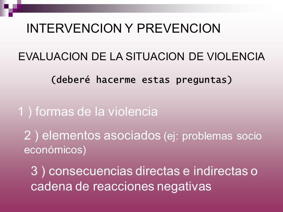 INTERVENCION Y PREVENCION 1 ) formas de la violencia EVALUACION DE LA SITUACION DE VIOLENCIA (deberé hacerme estas preguntas) 2 ) elementos asociados