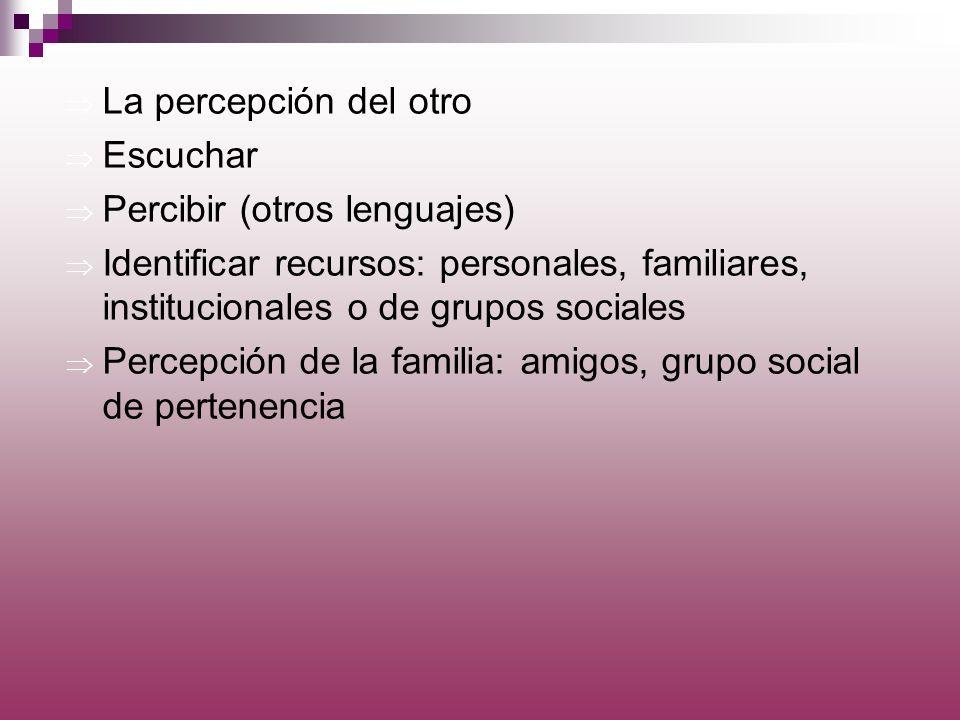La percepción del otro Escuchar Percibir (otros lenguajes) Identificar recursos: personales, familiares, institucionales o de grupos sociales Percepci