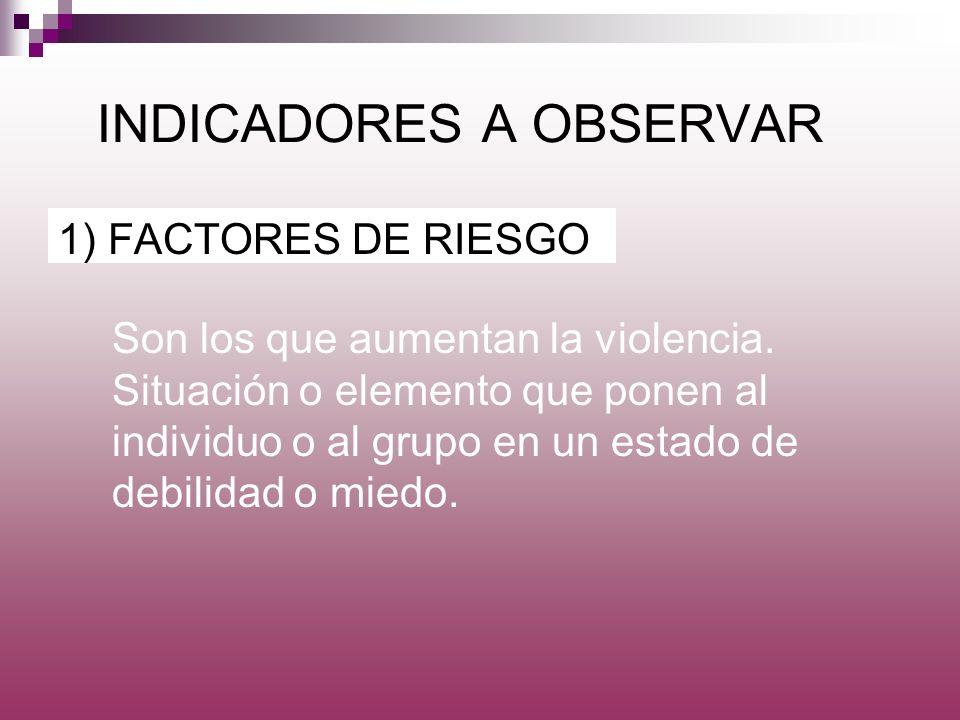 INDICADORES A OBSERVAR 1) FACTORES DE RIESGO Son los que aumentan la violencia. Situación o elemento que ponen al individuo o al grupo en un estado de
