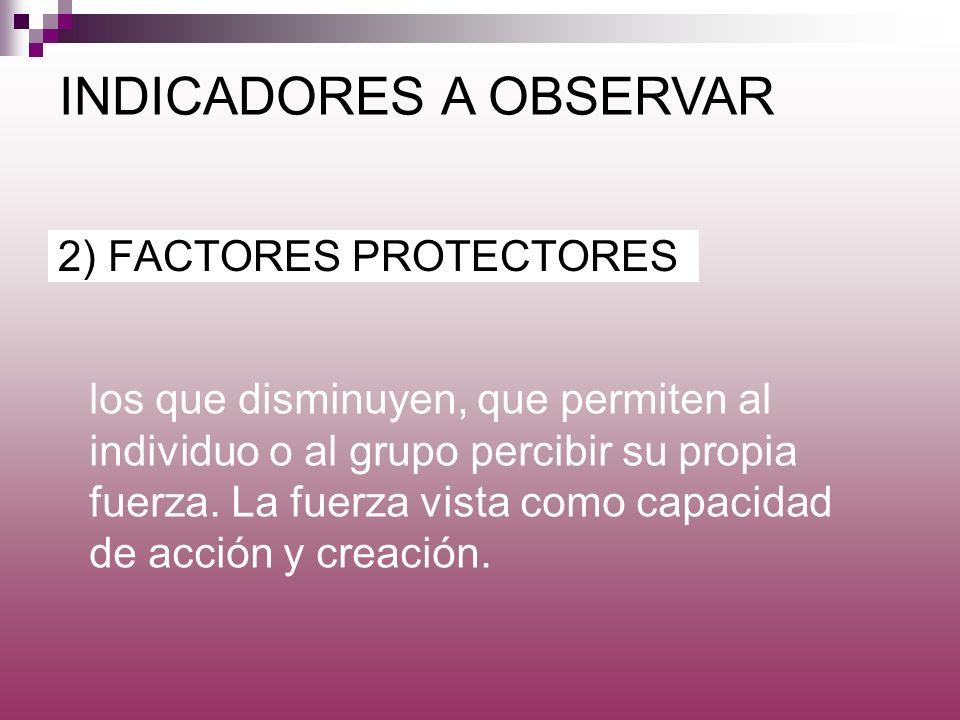 2) FACTORES PROTECTORES INDICADORES A OBSERVAR los que disminuyen, que permiten al individuo o al grupo percibir su propia fuerza. La fuerza vista com