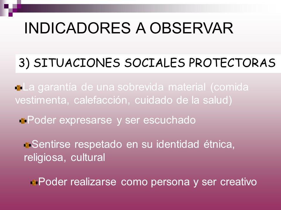 3) SITUACIONES SOCIALES PROTECTORAS INDICADORES A OBSERVAR La garantía de una sobrevida material (comida vestimenta, calefacción, cuidado de la salud)