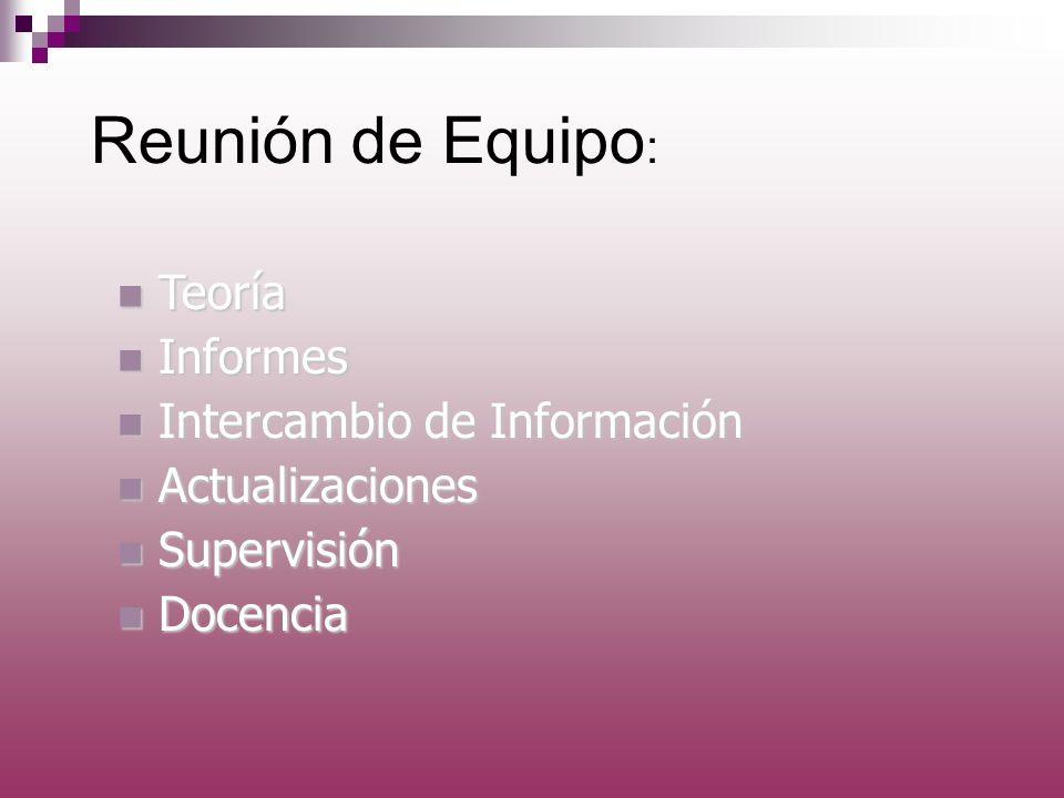 Reunión de Equipo : n Teoría n Informes n Intercambio de Información n Actualizaciones n Supervisión n Docencia