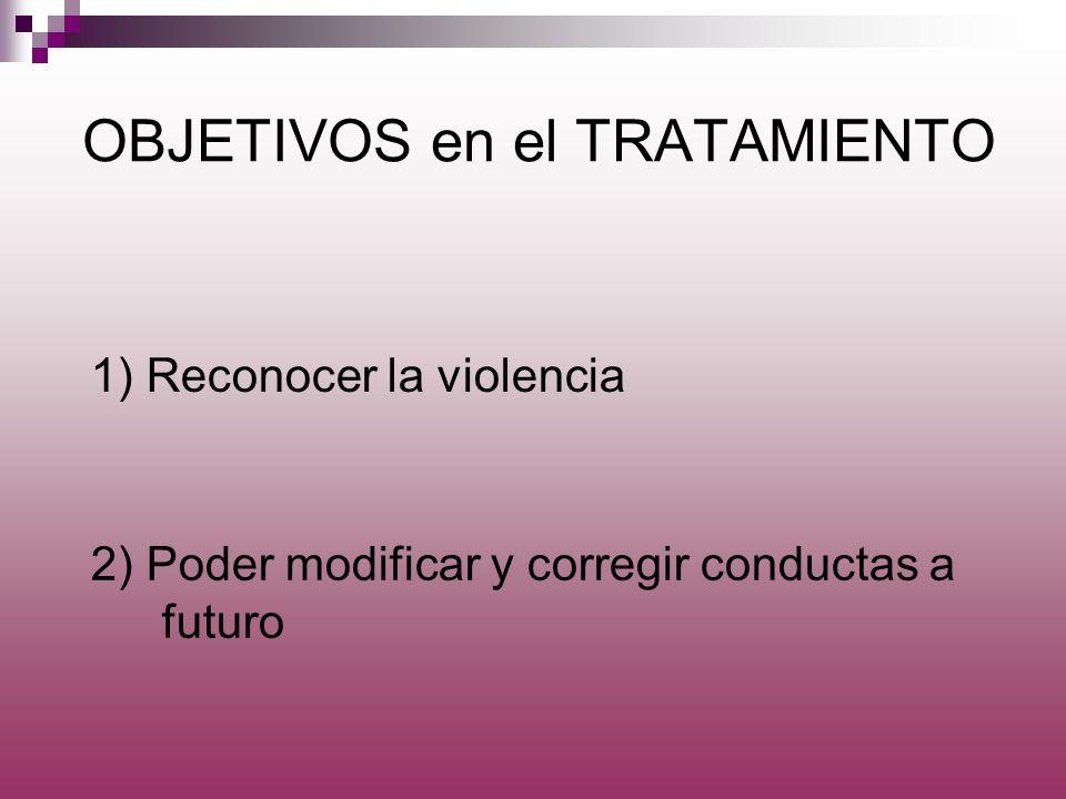 OBJETIVOS en el TRATAMIENTO 2) Poder modificar y corregir conductas a futuro 1) Reconocer la violencia