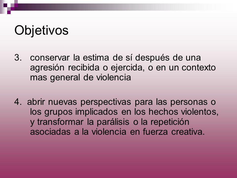 Objetivos 3.conservar la estima de sí después de una agresión recibida o ejercida, o en un contexto mas general de violencia 4. abrir nuevas perspecti