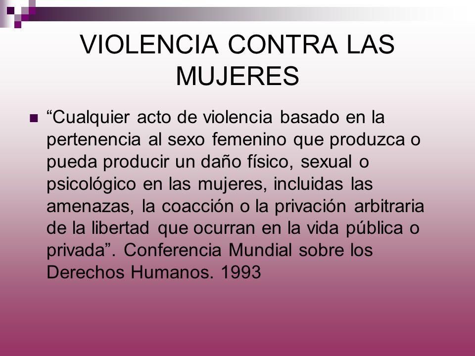 VIOLENCIA CONTRA LAS MUJERES Cualquier acto de violencia basado en la pertenencia al sexo femenino que produzca o pueda producir un daño físico, sexua