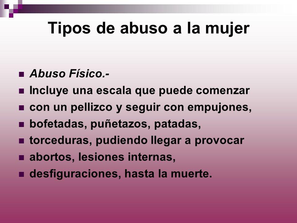 Tipos de abuso a la mujer Abuso Físico.- Incluye una escala que puede comenzar con un pellizco y seguir con empujones, bofetadas, puñetazos, patadas,