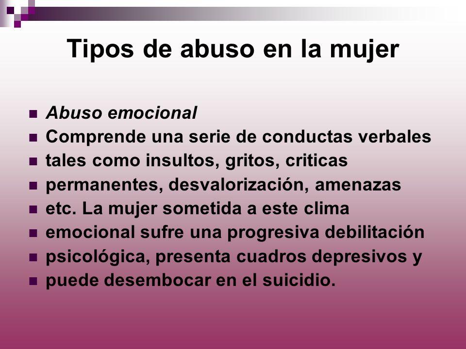 Tipos de abuso en la mujer Abuso emocional Comprende una serie de conductas verbales tales como insultos, gritos, criticas permanentes, desvalorizació