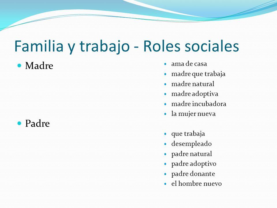 Familia y trabajo - Roles sociales Madre Padre ama de casa madre que trabaja madre natural madre adoptiva madre incubadora la mujer nueva que trabaja