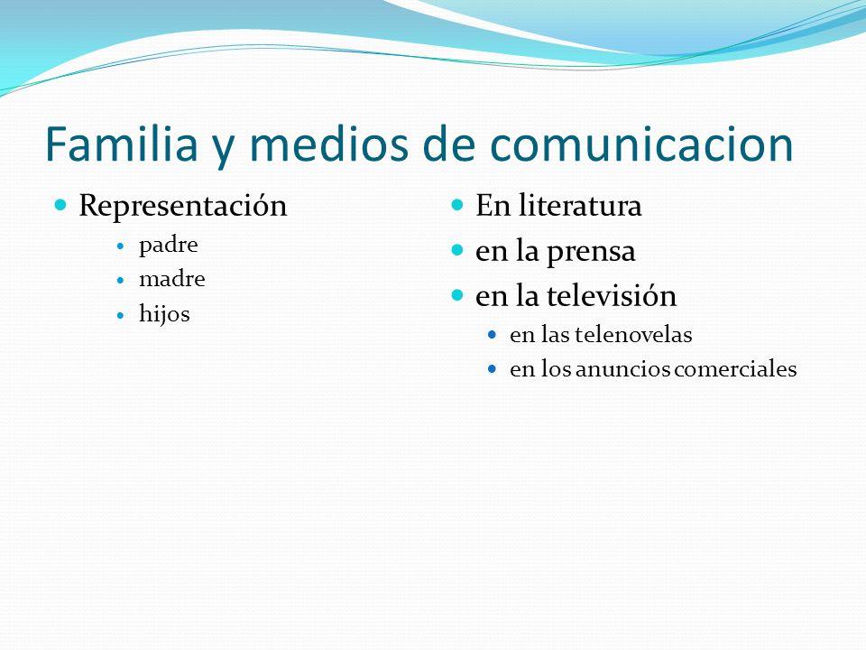 Familia y medios de comunicacion Representación padre madre hijos En literatura en la prensa en la televisión en las telenovelas en los anuncios comer