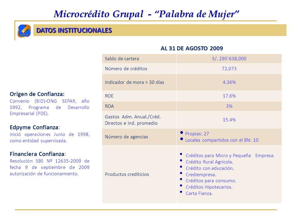 MICROCRÉDITO GRUPAL PALABRA DE MUJER F inanciera Confianza F inanciera Confianza Cifras institucionales Al 31 de agosto 2009 Saldo de carteraS/.