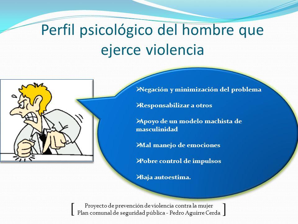 Proyecto de prevención de violencia contra la mujer Plan comunal de seguridad pública - Pedro Aguirre Cerda ] [ Perfil psicológico del hombre que ejer