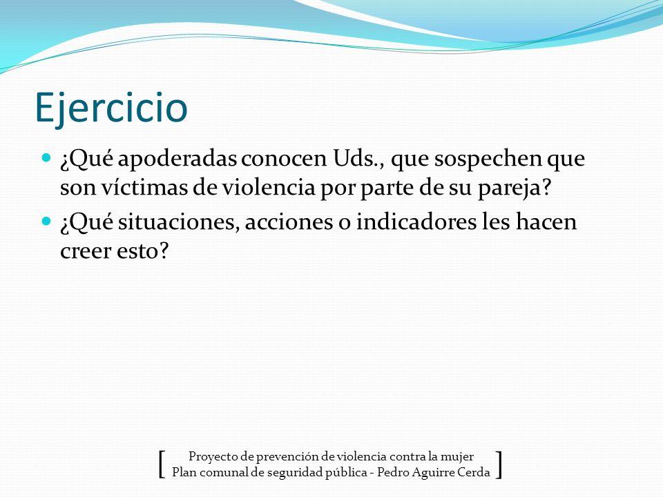 Proyecto de prevención de violencia contra la mujer Plan comunal de seguridad pública - Pedro Aguirre Cerda ] [ Ejercicio ¿Qué apoderadas conocen Uds.
