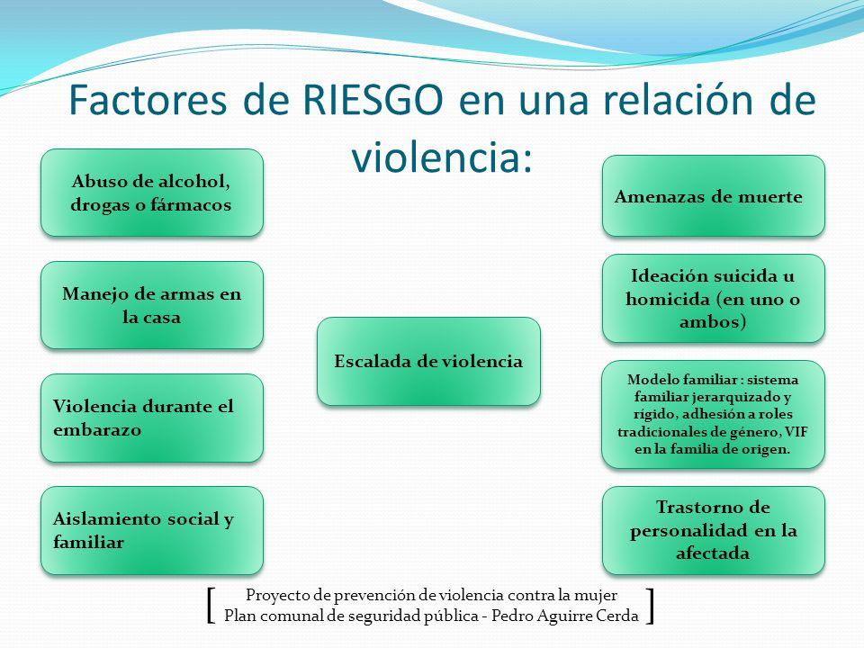 Proyecto de prevención de violencia contra la mujer Plan comunal de seguridad pública - Pedro Aguirre Cerda ] [ Factores de RIESGO en una relación de
