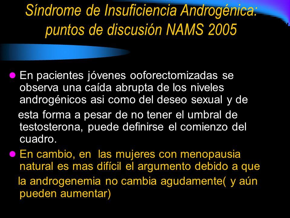 Síndrome de Insuficiencia Androgénica: puntos de discusión NAMS 2005 En pacientes jóvenes ooforectomizadas se observa una caída abrupta de los niveles androgénicos asi como del deseo sexual y de esta forma a pesar de no tener el umbral de testosterona, puede definirse el comienzo del cuadro.